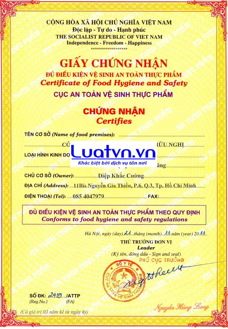 giấy phép atvstp cho cơ sở đóng gói gạo