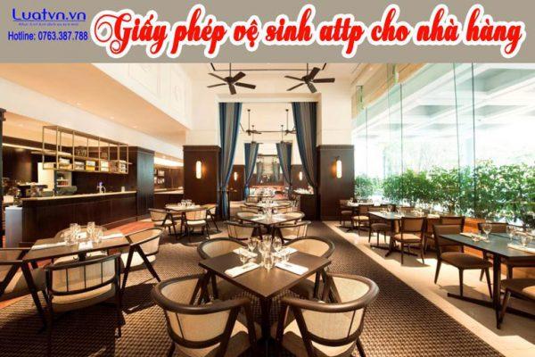 Thủ tục xin giấy phép vệ sinh attp cho nhà hàng