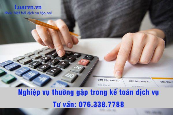 Nghiệp vụ thường gặp trong kế toán dịch vụ