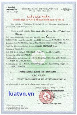 Đổi giấy chứng nhận đủ điều kiện an ninh trật tự