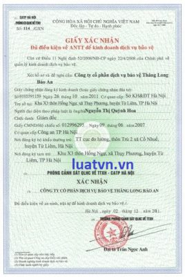Mất giấy chứng nhận đủ điều kiện về ANTT