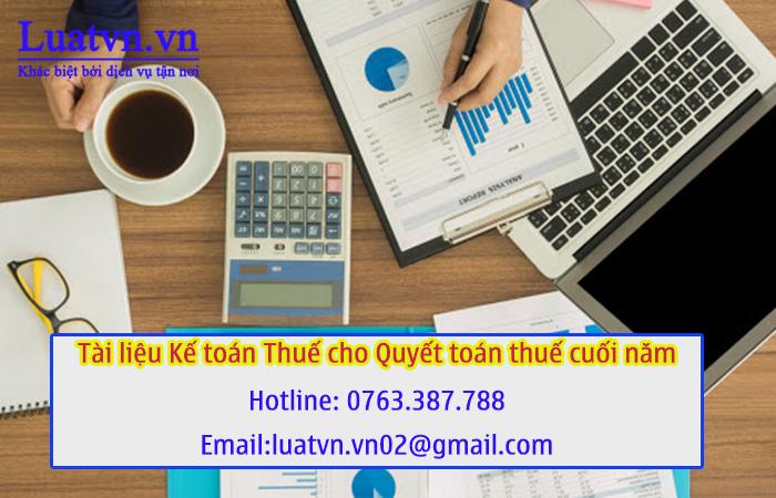 Tài liệu kế toán thuế cho quyết toán thuế cuối năm