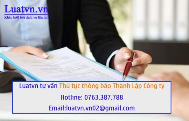 Luatvn.vn tư vấn thủ tục thông báo thành lập công ty