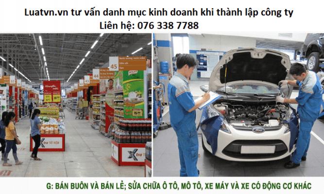 Chi tiết danh mục ngành buôn bán, sửa chữa xe khi thành lập công ty